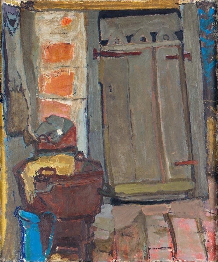 JOAN EARDLEY, RSA 1921-1963 THE WASH HOUSE (RECTO), FRENCH ROOFTOPS (VERSO)