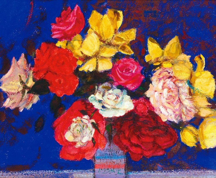 SIR ROBIN PHILIPSON, R.A., P.R.S.A., R.S.W. 1916-1992 ROSES ON A BLUE GROUND