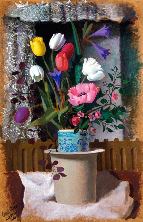 WILLIAM CROSBIE, R.S.A. 1915-1999 STILL LIFE WITH TULIPS, POPPIES, QUINCE AND BLUE LILIES