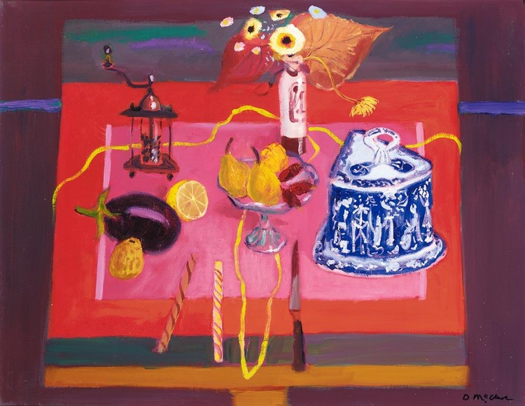 DAVID MCCLURE 1926-1998 STILL LIFE WITH A CHEESE DISH AND FRUIT