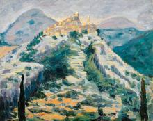 SIR WINSTON CHURCHILL, K.G., O.M., F.R.S., HON. R.A. | A View of Eze in the Alpes-Maritimes