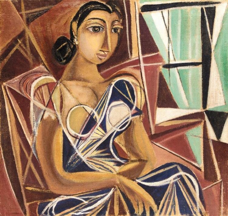 GEORGE KEYT (1901-1993) WOMAN IN A BLUE SARI