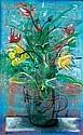 MANU PAREKH (B. 1939) BLUE FLOWERS WITH VASE