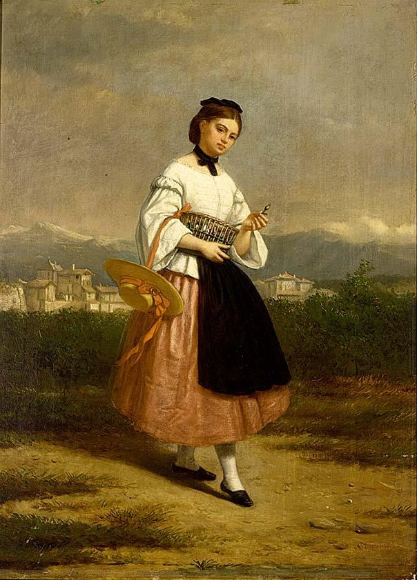 CHARLES AUGUSTINE WAUTERS BELGIAN 1811-1869 A GIRL IN AN ITALIAN DRESS