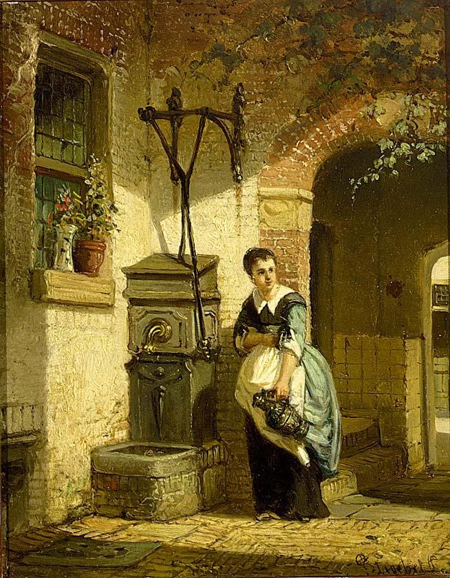 JOHANNES ANTHONIE BALTHASAR STROEBEL DUTCH 1821-1905 A KITCHEN MAID IN A COURTYARD
