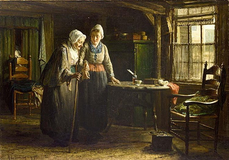 HENDRIK VALKENBURG DUTCH 1826-1896 GRANDMOTHER'S VISIT