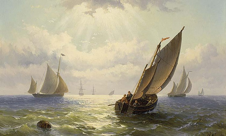 WILLEM GRUYTER DUTCH 1817-1880 SAILING VESSELS ON A CALM SEA