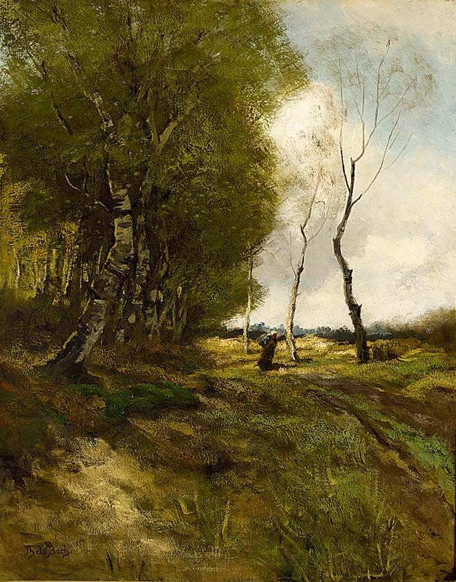 THÉOPHILE ÉMILE ACHILLE DE BOCK DUTCH 1851-1904 A PEASANT WOMAN ON A PATH IN A WOODED LANDSCAPE