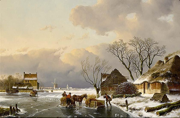ANTON KARSSEN DUTCH BORN 1945 SKATERS ON THE ICE