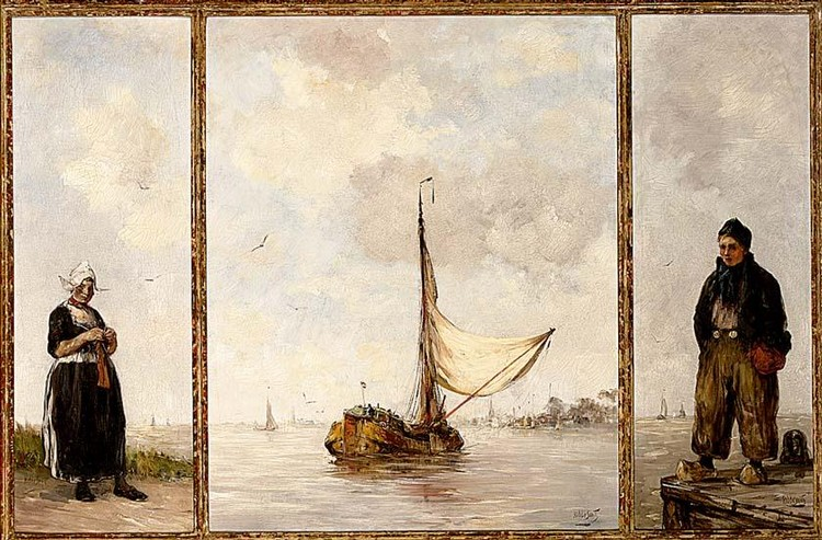 HOBBE SMITH DUTCH 1862-1942 A TRIPTYCH: CENTRAL PIECE: COMING INTO HARBOUR, RIGHT : VOLENDAMMER