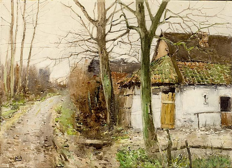 WILLEM VAN DER NAT DUTCH 1864-1929 FARM HOUSE IN A LANDSCAPE