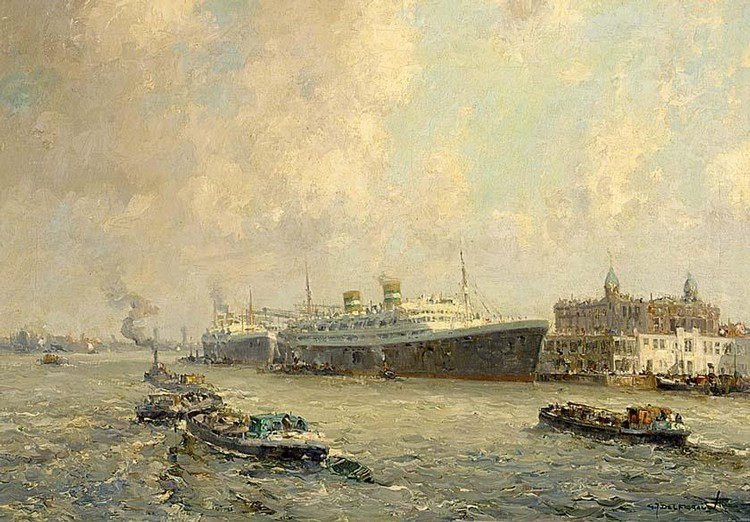 GERARDUS JOHANNES DELFGAAUW DUTCH 1882-1947 A VIEW OF ROTTERDAM WITH THE HOLLAND AMERICA LINE