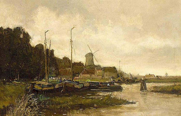 PIET IN ´T HOUT DUTCH 1879-1965 MOORED SAILINGVESSELS IN A RIVER LANDSCAPE