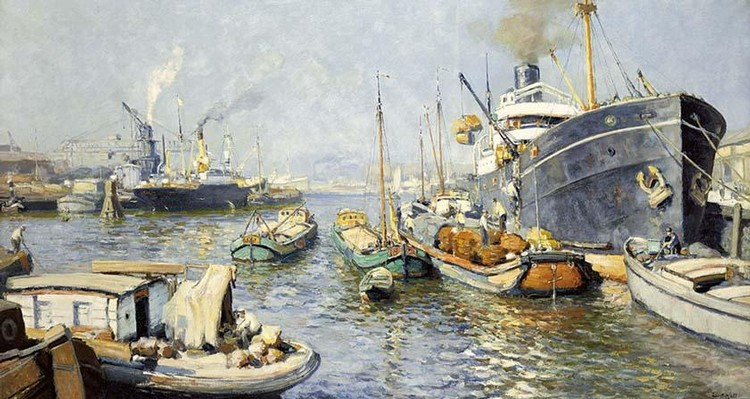 EVERT MOLL DUTCH 1878-1955 THE PROVISIONING OF THE SHIPS, ROTTERDAM