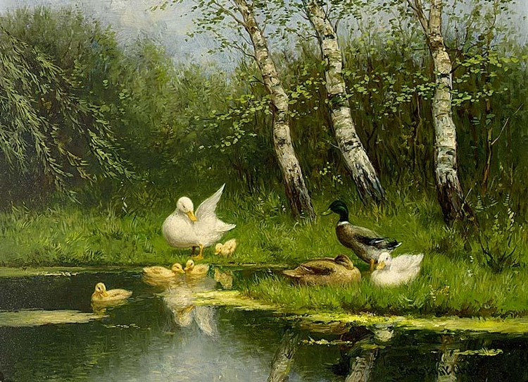 CONSTANT DAVID LUDOVIC ARTZ DUTCH 1870-1951 MOTHER DUCK WITH DUCKLINGS; DUCK FAMILY AT THE