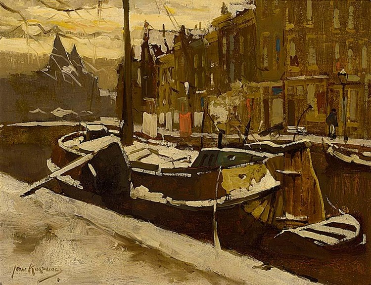 JAN KORTHALS DUTCH 1916-1972 MOORED VESSELS IN A CANAL, AMSTERDAM