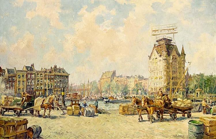HENDRIK SCHAAP DUTCH 1878-1955 A VIEW OF THE WITTE HUIS, ROTTERDAM