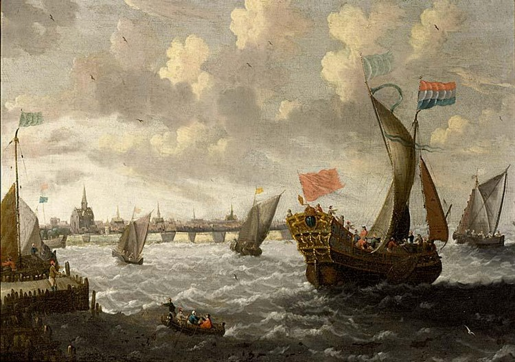 CORNELIS MAHU ANTWERP 1613 - 1689 A STATES YACHT, A KAAG AND OTHER SHIPS IN A STIFF BREEZE, A TOWN