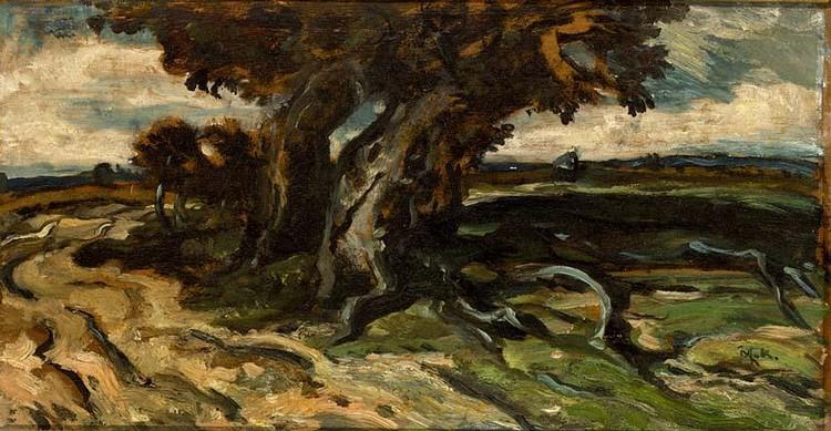 WILLEM VAN KONIJNENBURG DUTCH 1868-1943 A LANDSCAPE WITH A TRAVELLER ON A PATH; IN MEDIO ECCLESIAC