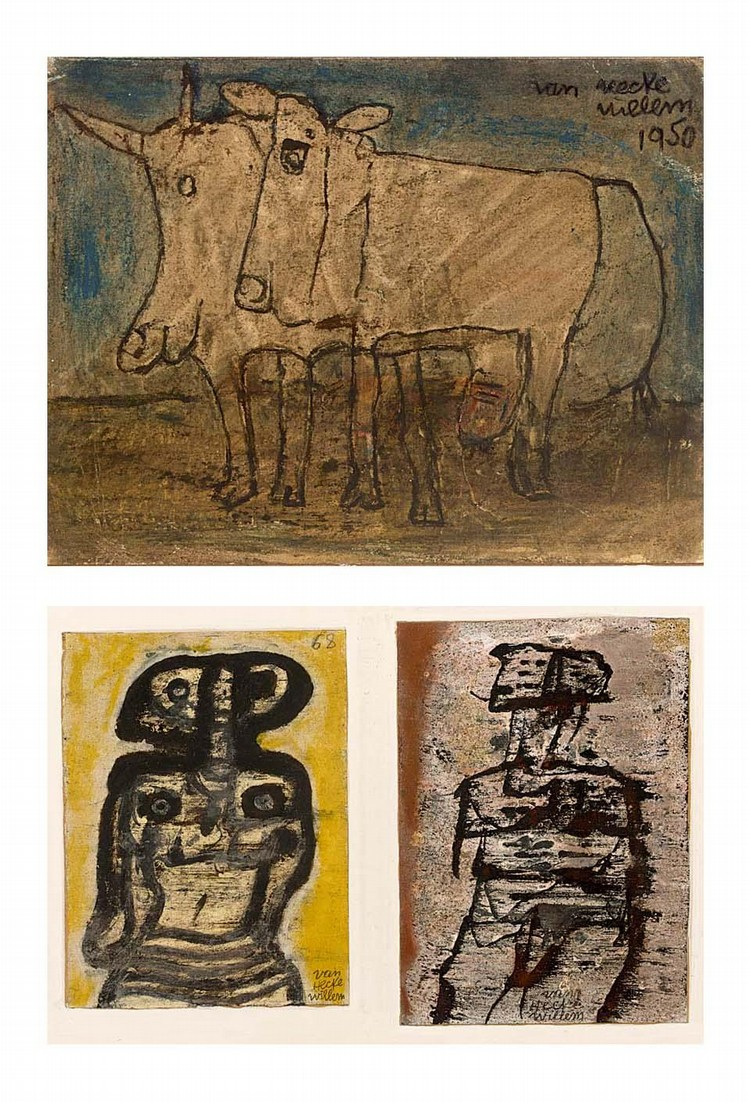 WILLEM VAN HECKE BELGIAN 1893 - 1976 A COW AND BULL; TWO FIGURES