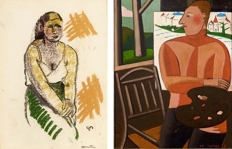 JULES DE SUTTER BELGIAN 1895-1970 PORTRAIT OF GUST DE SMET TOGETHER WITH A DRAWING BY THE SAME