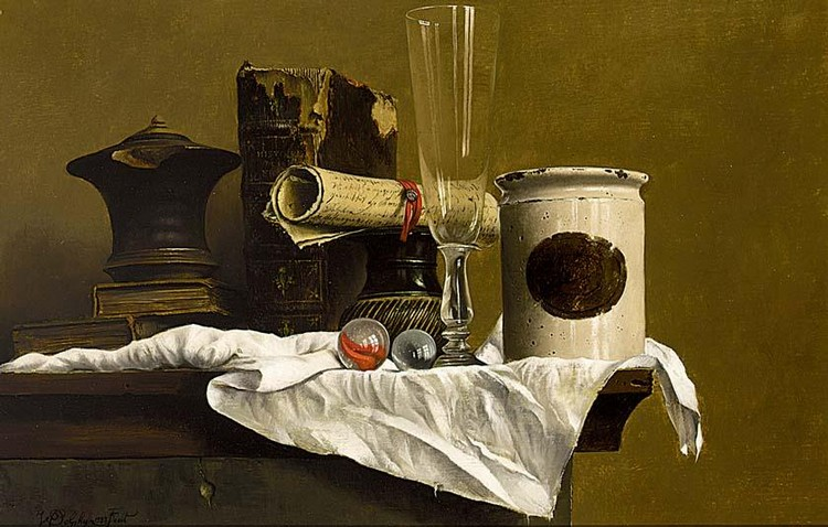 WILLEM DOLPHIJN BELGIAN BORN 1935 A STILL LIFE WITH A LETTER, BOOK AND MARBLES ON A LEDGE
