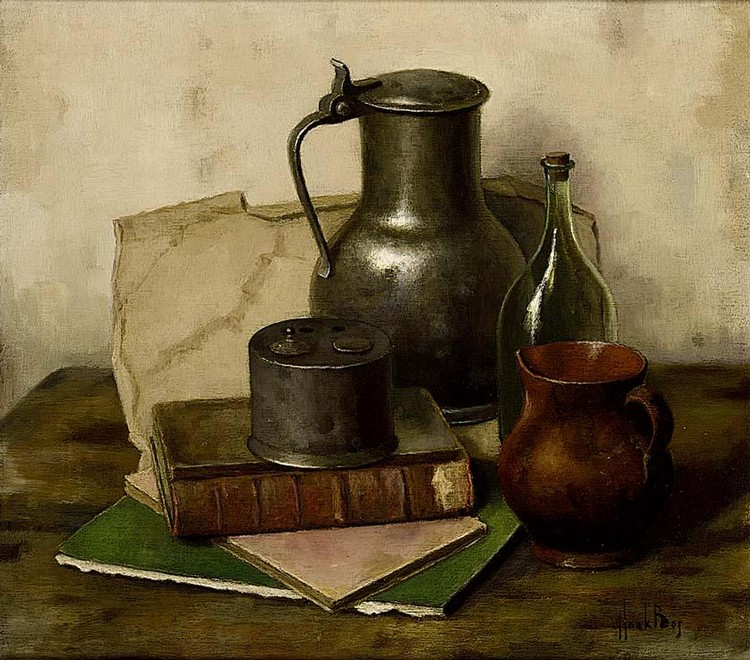 HENK BOS DUTCH 1901-1979 A STILL LIFE WITH BOOKS AND A PEWTER TANKARD; A STILL LIFE WITH A WALNUT