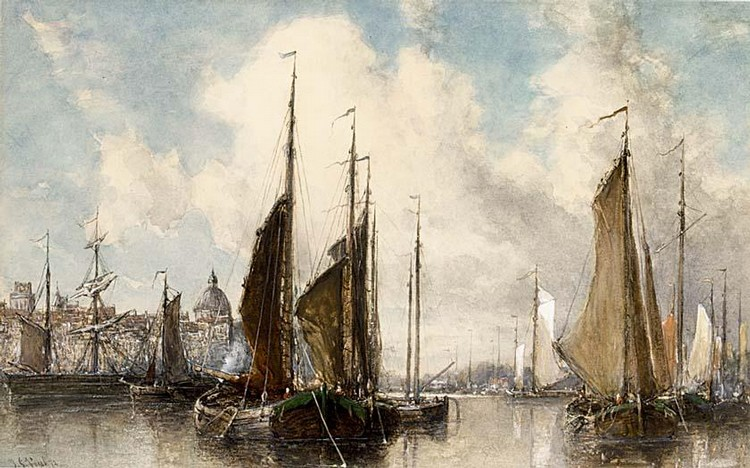 JOHANNES GIJSBERTUS VOGEL DUTCH 1829-1915 SHIPPING NEAR A TOWN