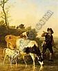 EDMOND JEAN-BAPTISTE TSCHAGGENY BELGIAN 1818-1873 TENDING THE HERD