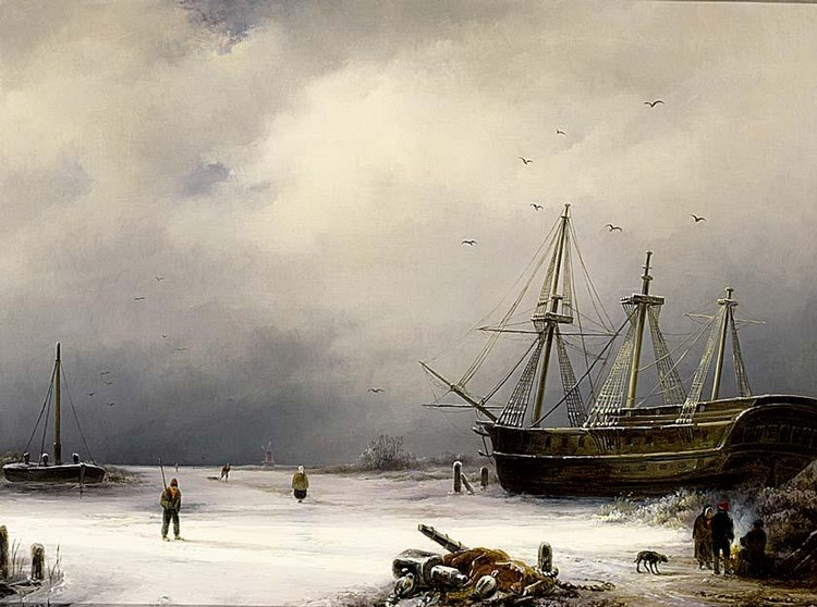 ANTON BRAAKMAN DUTCH 1811-1870 A THREE-MASTER IN A WINTER LANDSCAPE