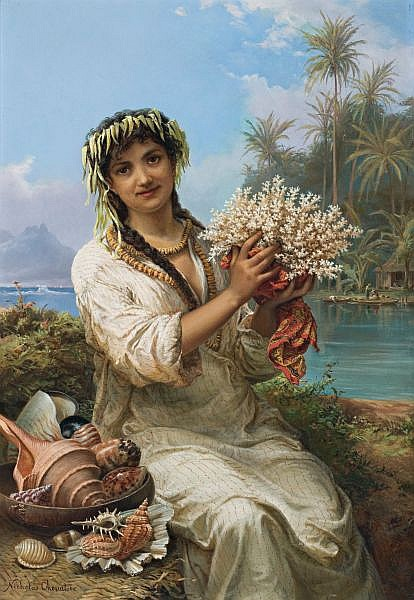 Nicholas Chevalier , WILL YOU BUY? (also known as The SEASHELLS [sic] SELLER and as A GIRL OF THE SEA) Oil on canvas