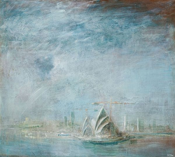 WILLIAM DOBELL , OPERA HOUSE, SYDNEY HARBOUR Oil on composition board