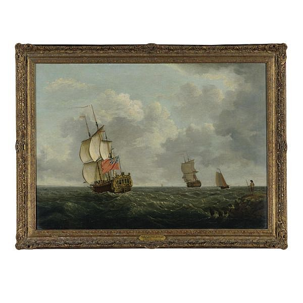 Francis Swaine , circa 1740-1782 London Capture of the Chausey Islands, 1756, with a British Squadron in the Gulf of St. Malo   oil on canvas