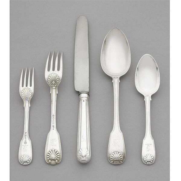 An English silver assembled flatware service, Paul Storr, William Chawner, William Eaton, and others, London 1811-1842