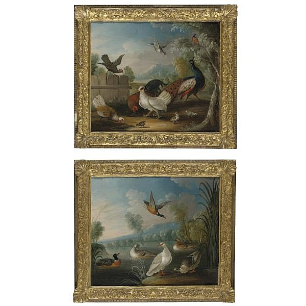 Marmaduke Cradock , Somerset circa 1660 - London 1717 A Peacock with a Rooster, Hens and other Birds in a Landscape; Waterfowl on a River a pair, both oil on canvas