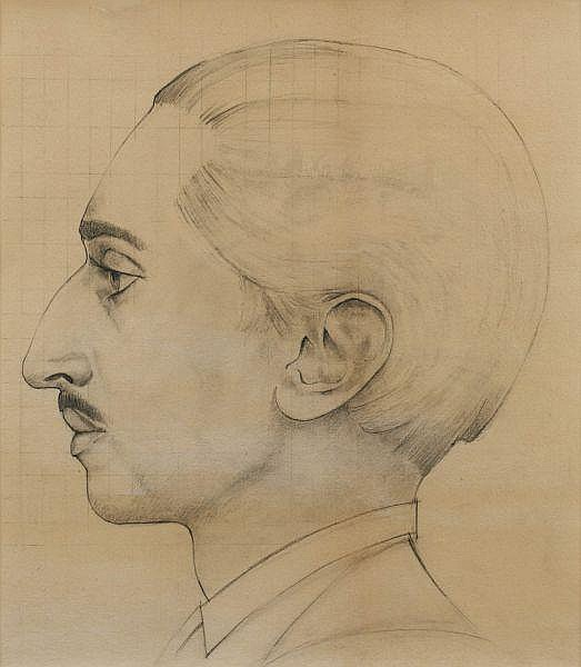 Bernard Boutet de Monvel, 1881 - 1949 , Profil du Maharajah d'Indore Yeswant Rao Holkar (1908-1961), vers 1933 A pencil sketch for the portrait of the Maharajah of Indore by Bernard Boutet de Monvel, circa 1933