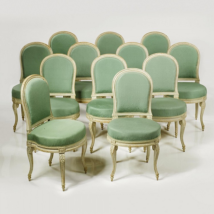 A SET OF TWELVE LOUIS XVI WHITE-PAINTED DINING CHAIRS CIRCA 1770, STAMPED G. JACOB