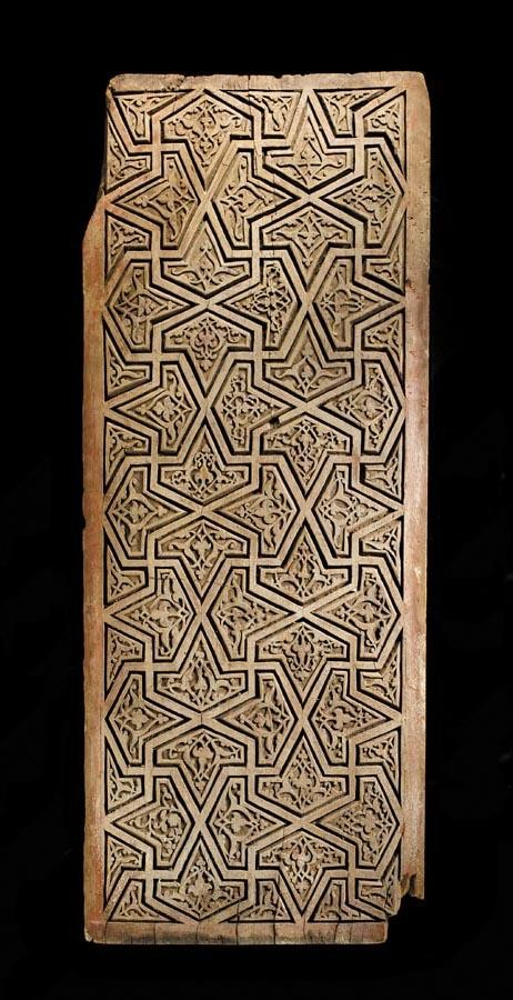 f - A RARE CARVED WOODEN PANEL, WESTERN PERSIA, 14TH-15TH CENTURY