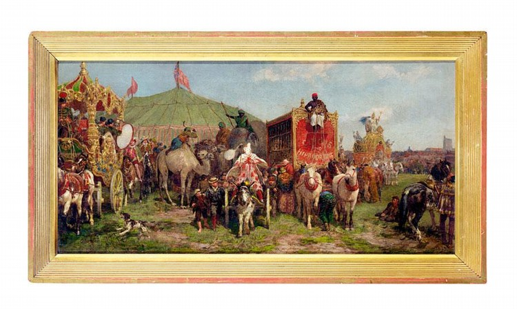 d - CHARLES JAMES ADAMS (1859-1931), THE CIRCUS LEAVING TOWN LATE 19TH OR EARLY 20TH CENTURY