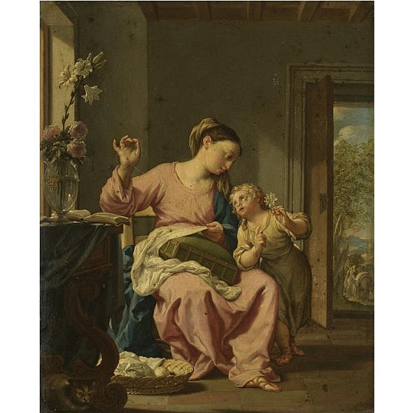 Francesco Trevisani Capodistria (Cape of Istra, Slovenia) 1656 - 1746 Rome , The Madonna sewing with the Christ child oil on copper, withthe painted emblem of Cardinal Pietro Ottoboni centre left