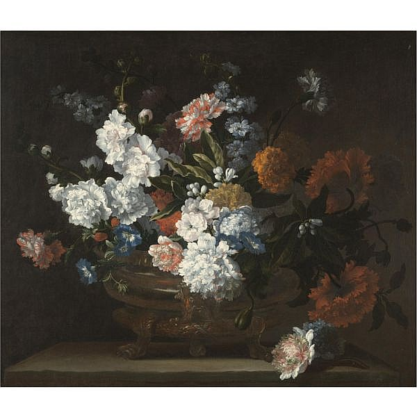 Jean-Baptiste Monnoyer Lille 1636 - 1699 London , a Still life of flowers including peonies, carnations, poppies and auriculae in a bronze urn on a stone ledge oil on canvas