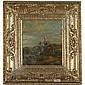 Adriaen van der Kabel Rijswijk 1630/1 - 1705 Lyon , SOUTHERN LANDSCAPE WITH PEASANTS AND A MULE oil on oak panel in a gilt Régence-style frame, Adriaen