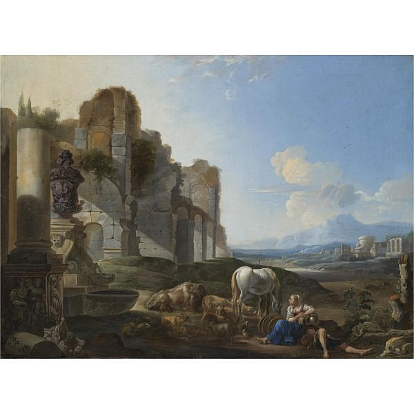 Anton Goubau Antwerp 1616 - 1698 , Italian landscape with a shepherdess and ruins oil on canvas