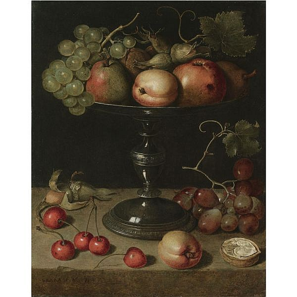 Clara Peeters Antwerp 1589 (?) - after 1657 Place Unknown , still life with pears, an apple, an apricot, almonds and walnuts on a tazza with grapes, a walnut, an apricot, cherries and almonds on a stone ledge oil on copper, the reverse with the mark