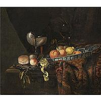 Juriaan van Streek Amsterdam(?) 1632 - 1687 Amsterdam , a still life with oranges, peaches and a lemon in a blue-and-white china bowl, a silver-gilt nautilus cup on a silver gilt plate together with a lemon, a bread roll and a knife, together with a