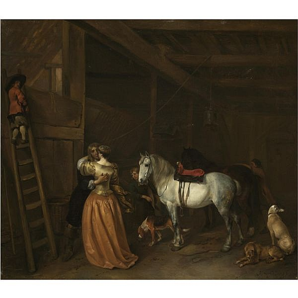 Hendrick Verschuring Gorinchem 1627 - 1690 Dordrecht , An amorous couple in a stable with a grey, a bay horse and dogs oil on canvas