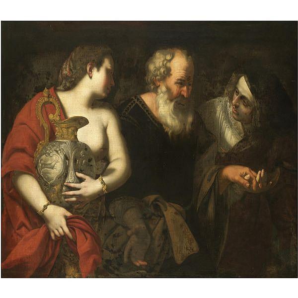 Filippo Vitale Naples circa 1585 - 1650 , Lot and his daughters oil on canvas