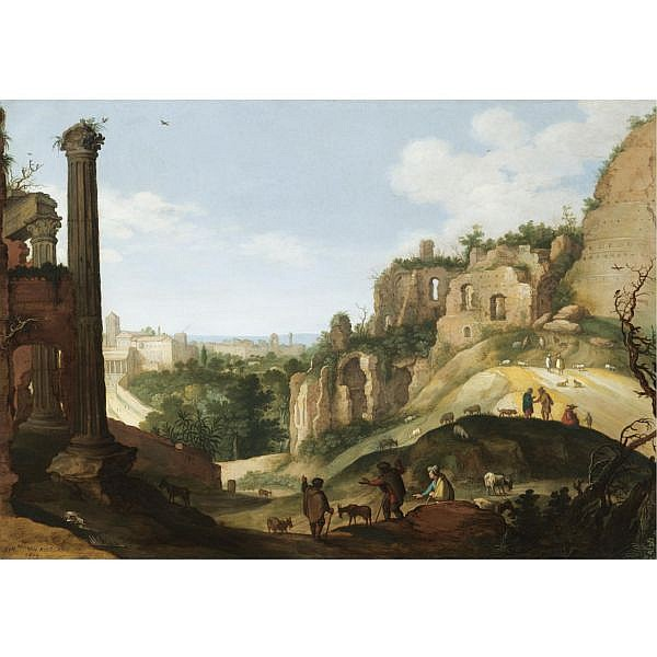Willem van Nieulandt the Younger Antwerp 1584 - 1635 (?) Amsterdam , A southern landscape with ruins, possibly a capriccio view of Rome