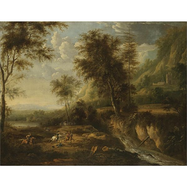 w - Frederik de Moucheron Emden 1633 - 1686 Amsterdam, and Jan van Huchtenburg Haarlem 1647 - 1733 Amsterdam , A military skirmish in an expansive wooded river landscape oil on canvas, in a fine gilt wood frame