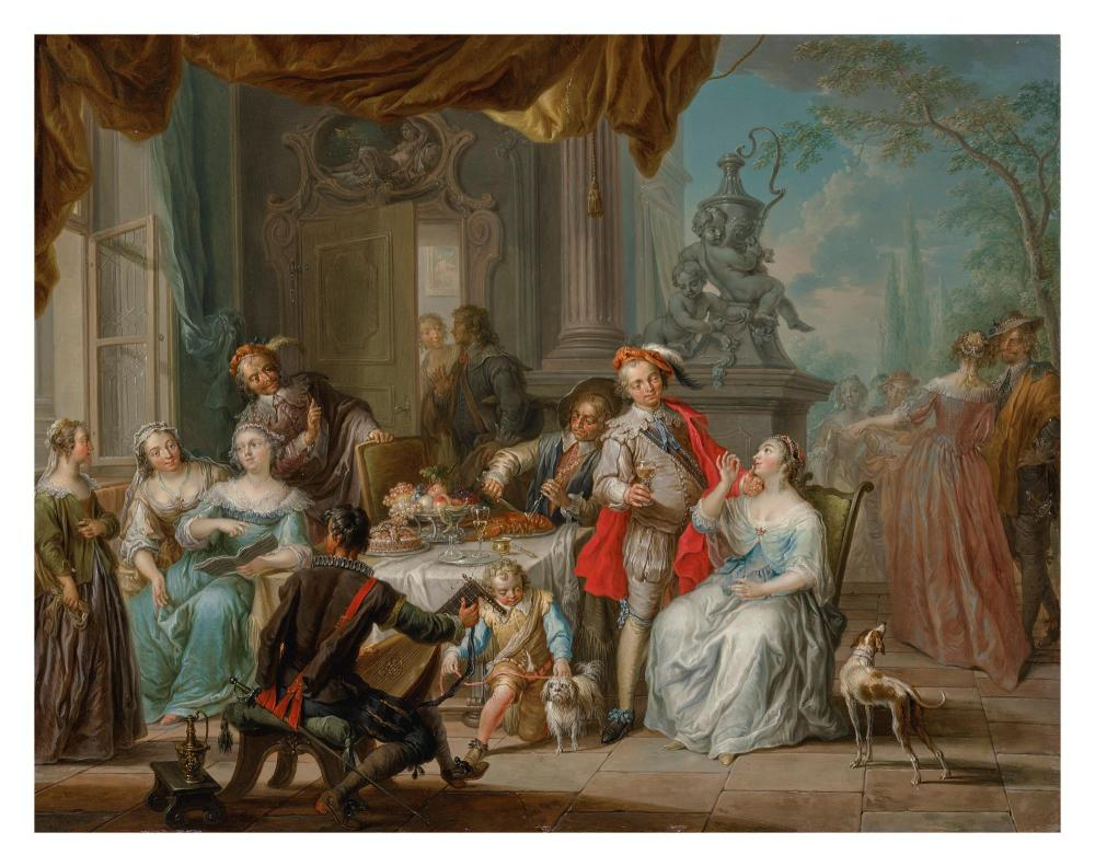 FRANZ CHRISTOPH JANNECK | Elegant company feasting on a terrace